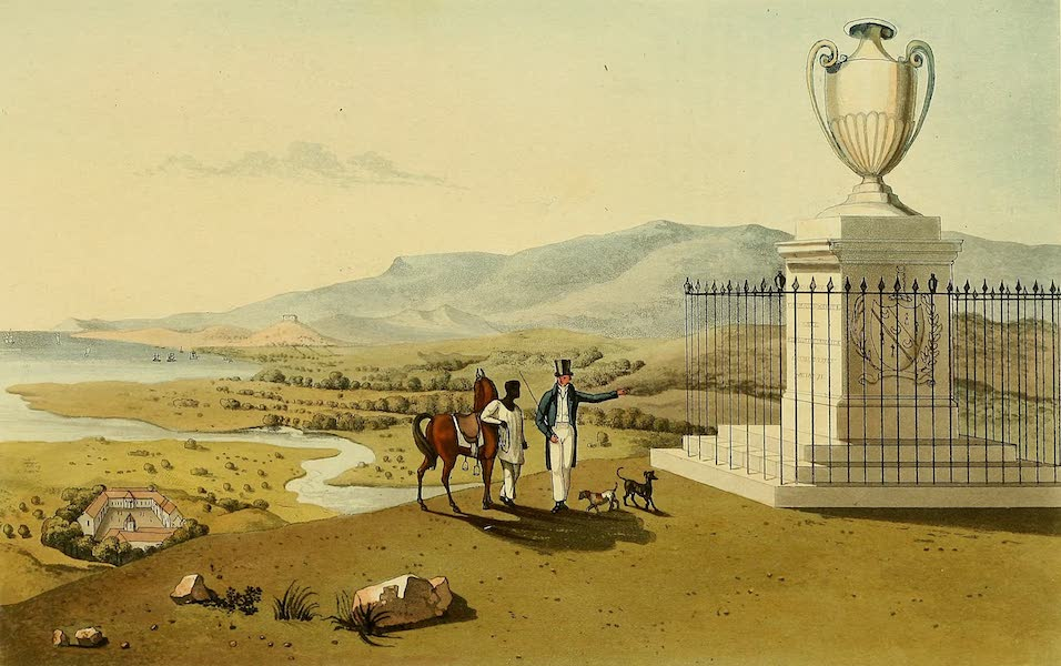 A Picturesque Tour of the Island of Jamaica - Monument of the Late Thomas Hibbert Esq, at Agualta Vale Penn, St. Mary's (1825)
