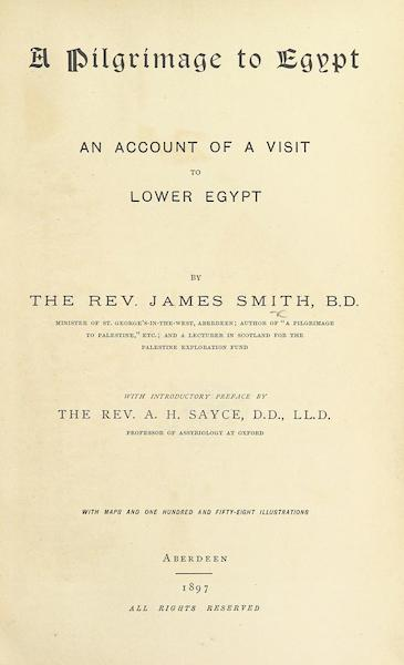 A Pilgrimage to Egypt - Title Page (1897)