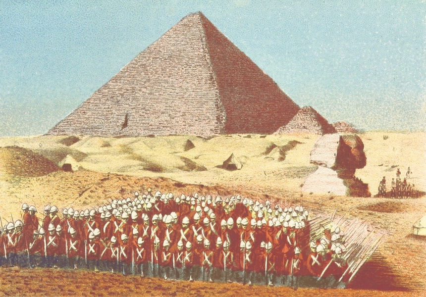 A Pilgrimage to Egypt - British Troops Drilling Near the Great Pyramids (1897)