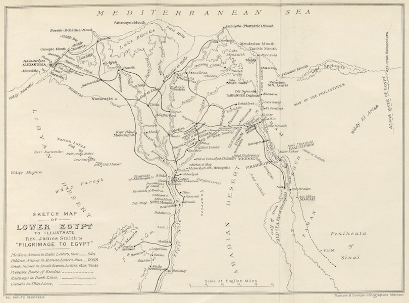 A Pilgrimage to Egypt - Sketch Map of Lower Egypt (1897)