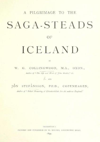 A Pilgrimage to the Saga-Steads of Iceland - Title Page (1899)