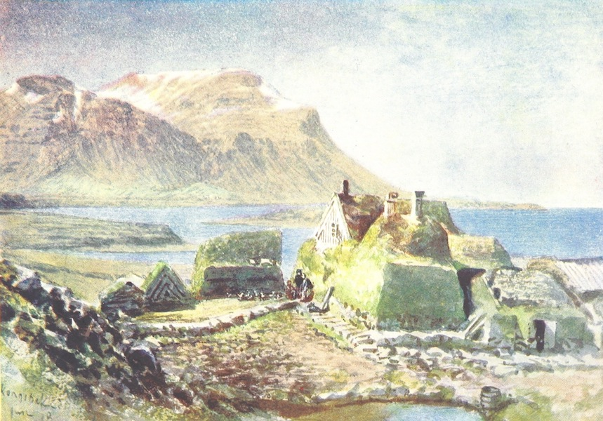 A Pilgrimage to the Saga-Steads of Iceland - Kongsbakki Bjarnarhsn in the Distance (1899)