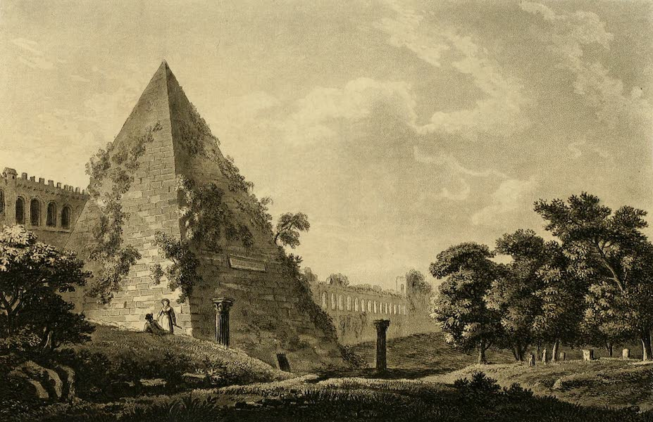 A Select Collection of Views and Ruins in Rome - The Pyramid of Caius Cestius (1815)