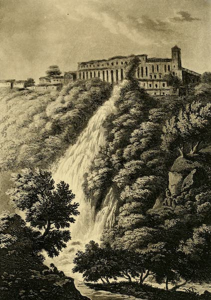A Select Collection of Views and Ruins in Rome - The Cascatella and Stables of Mecoenas (1815)