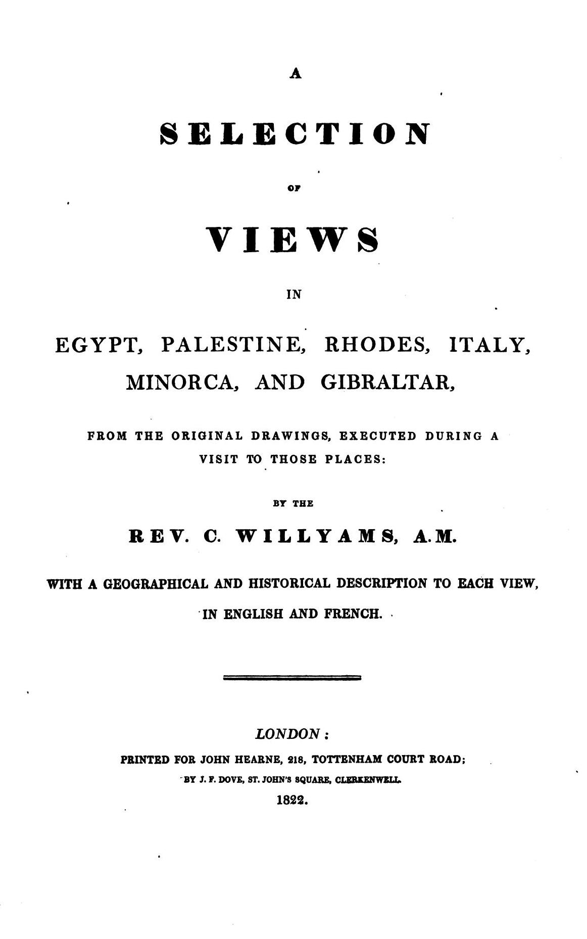 A Selection of Views in Egypt, Palestine, Rhodes, Italy, Minorca, and Gibraltar - Title Page (1822)