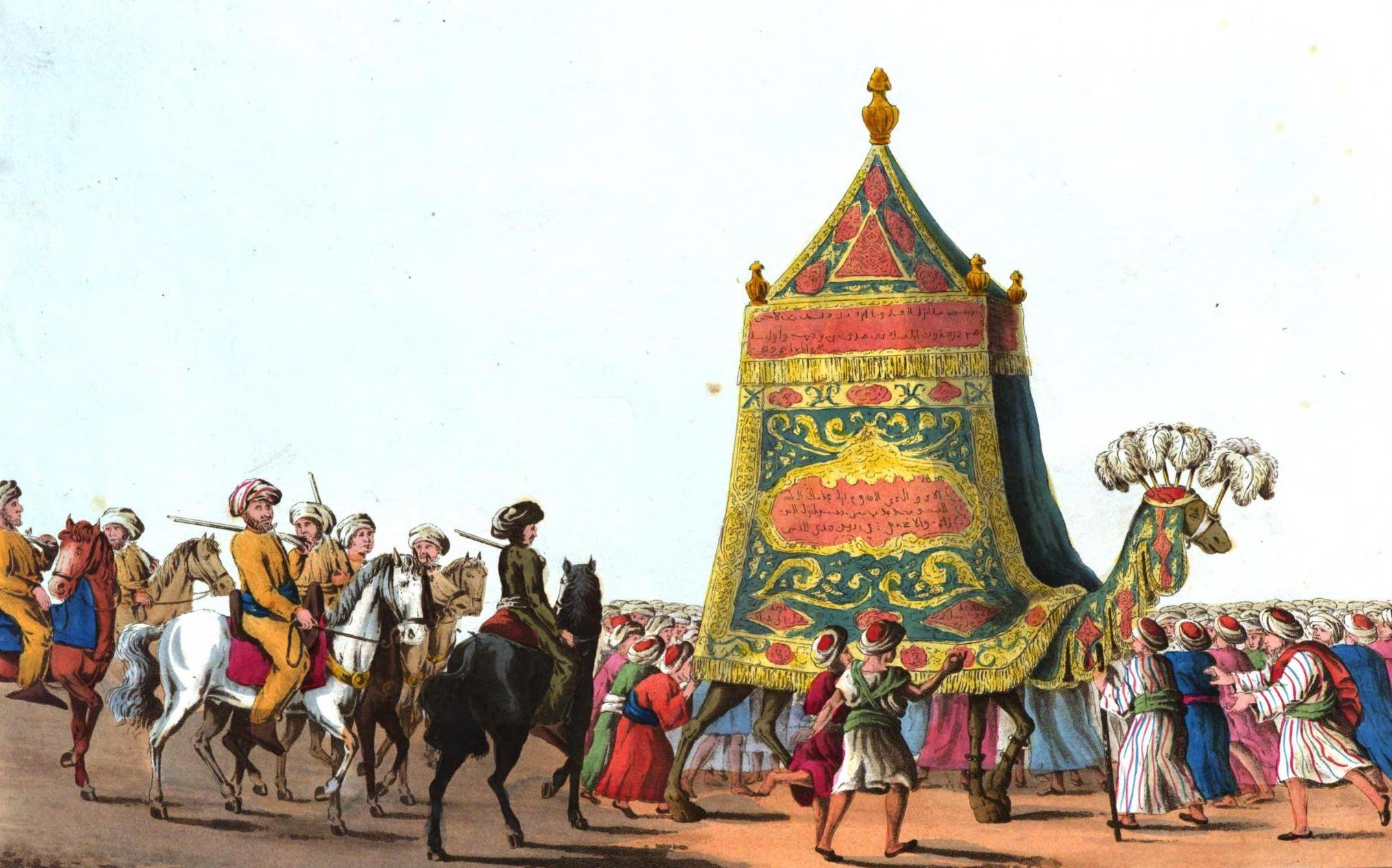 A Selection of Views in Egypt, Palestine, Rhodes, Italy, Minorca, and Gibraltar - View of the Procession of the Sacred Camel preparatory to the Annual Pilgrimage to Mecca & Medina (1822)