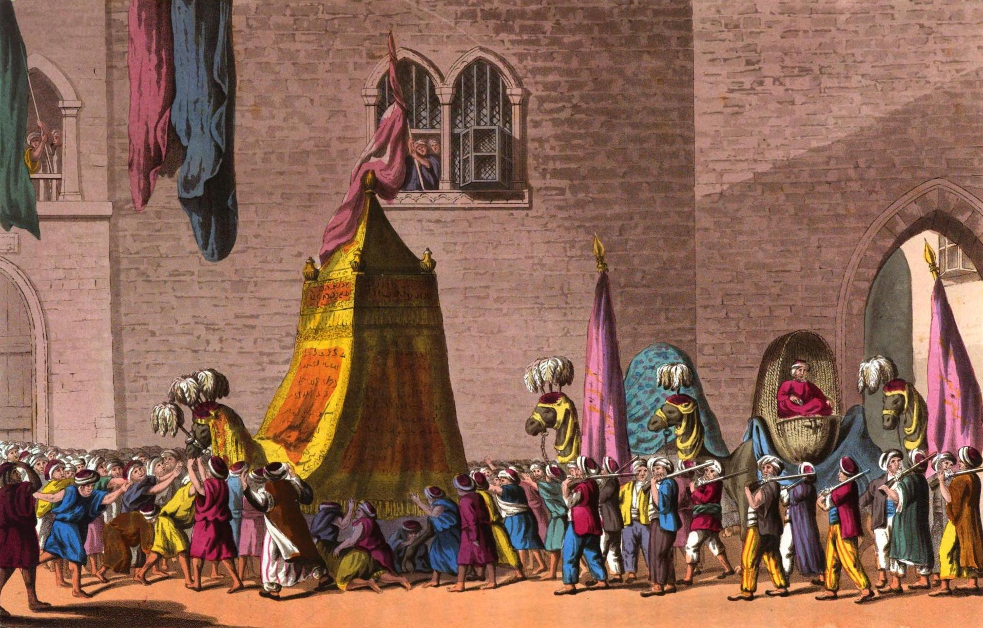 A Selection of Views in Egypt, Palestine, Rhodes, Italy, Minorca, and Gibraltar - View of the Grand Procession of the Sacred Camel through the Streets of Cairo on their Pilgrimage to Mecca & Medina (1822)