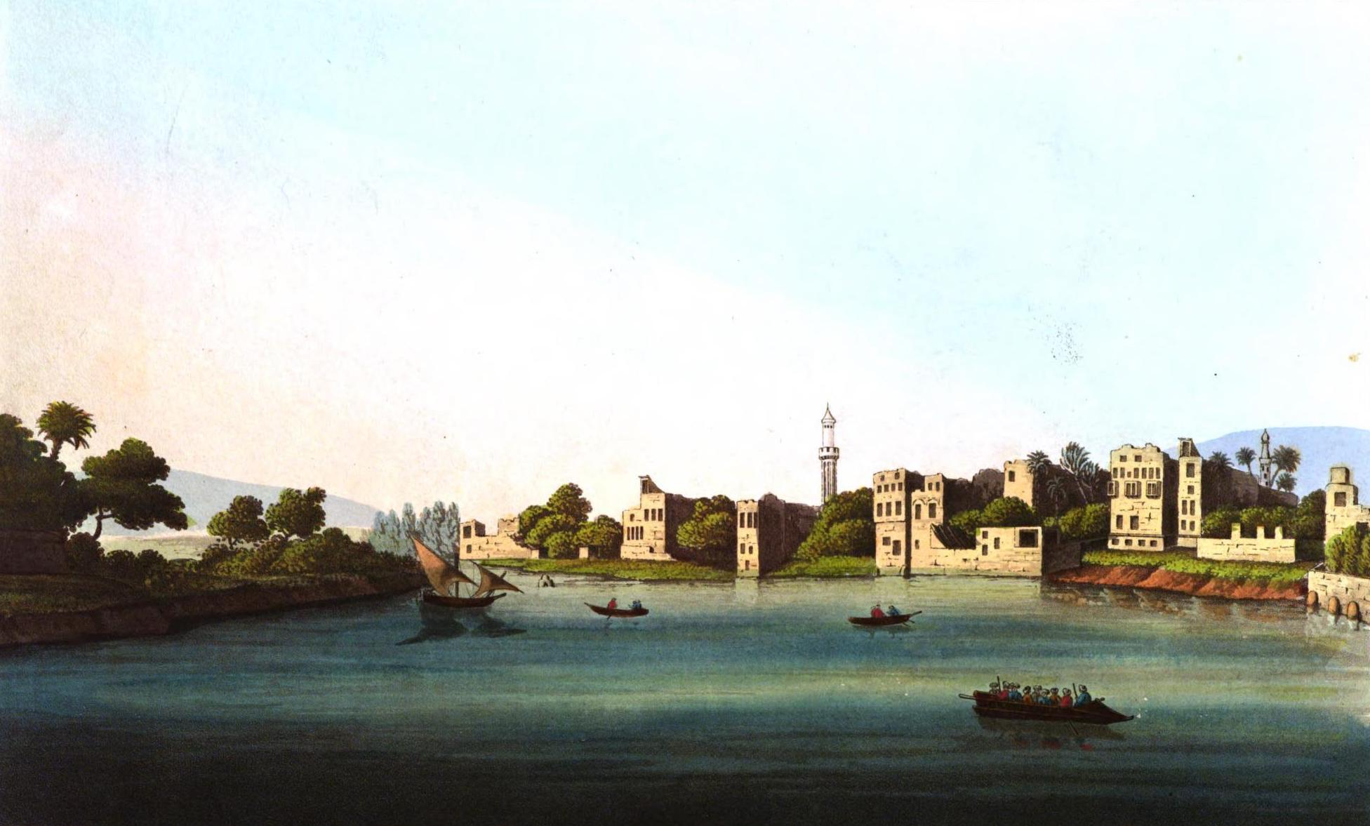 A Selection of Views in Egypt, Palestine, Rhodes, Italy, Minorca, and Gibraltar - View of the Old Cairo opposite Mokkias towards Boulac (1822)