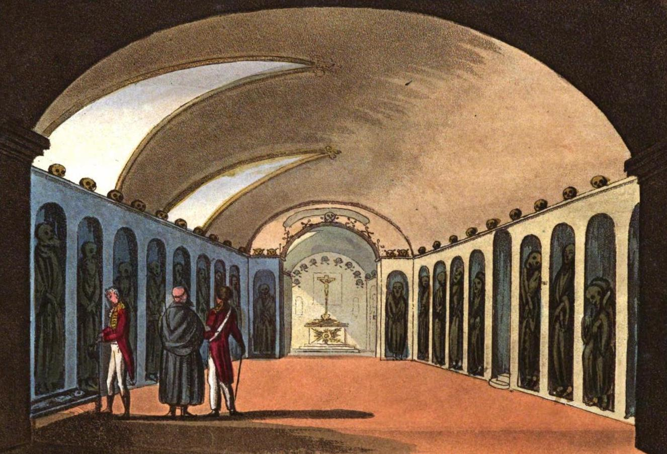 A Selection of Views in Egypt, Palestine, Rhodes, Italy, Minorca, and Gibraltar - Curious Cemetery under the Capuchin Monastery, near Syracuse (1822)