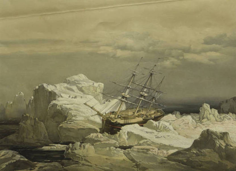 A Series of Eight Sketches in Colour of the Voyage of H.M.S. Investigator - Critical Position of H.M.S. Investigator on the North-Coast of Baring Island, August 20th 1851 (1854)