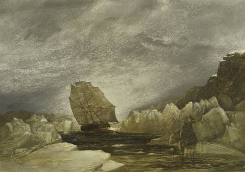 A Series of Eight Sketches in Colour of the Voyage of H.M.S. Investigator - H.M.S. Investigator Running Through a Narrow Channel in a Snow Storm, between Grounded and Packed Ice, September 23rd 1851 (1854)
