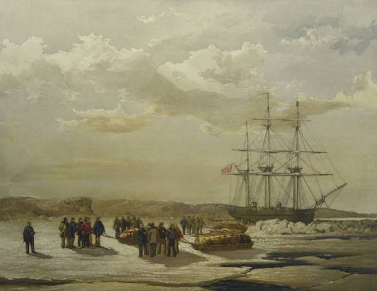 A Series of Eight Sketches in Colour of the Voyage of H.M.S. Investigator - Sledge-Party Leaving H.M.S. Investigator in Mercy Bay, Under Command of Lieutenant Gurney Cresswell, 15 April 1853 (1854)