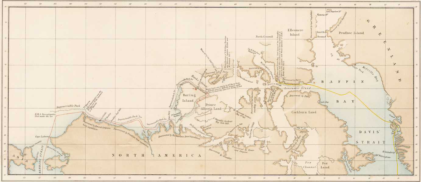 A Series of Eight Sketches in Colour of the Voyage of H.M.S. Investigator - Chart of the Northwest Passage Showing the Route of the Investigator (1854)