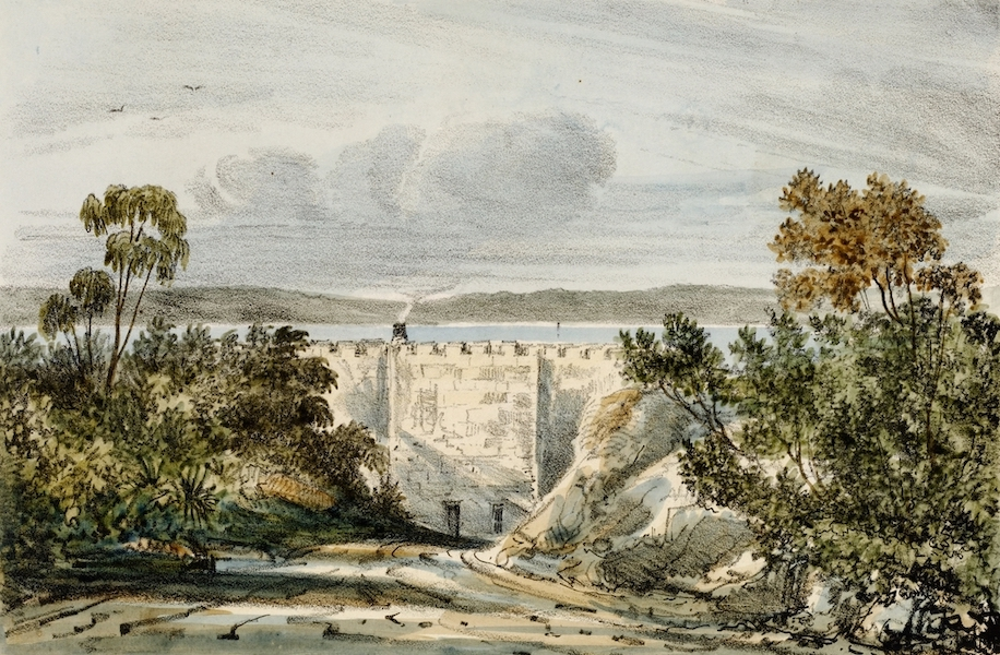 A Series of Lithographic Drawings of Sydney - Governor's Bathing House, Gov't Domain (1836)