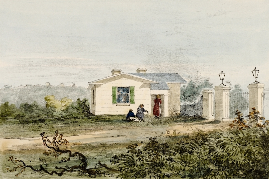 A Series of Lithographic Drawings of Sydney - Lower Lodge, Gov't Domain (1836)