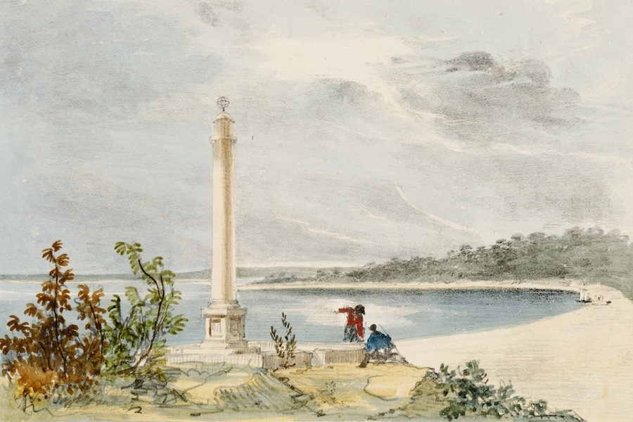 A Series of Lithographic Drawings of Sydney - La Perouse's Monument, Botany Bay (1836)