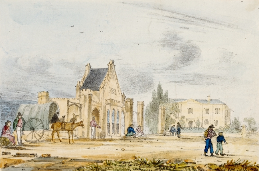 A Series of Lithographic Drawings of Sydney - Toll Gate and Benevolent Asylum, George Street South (1836)