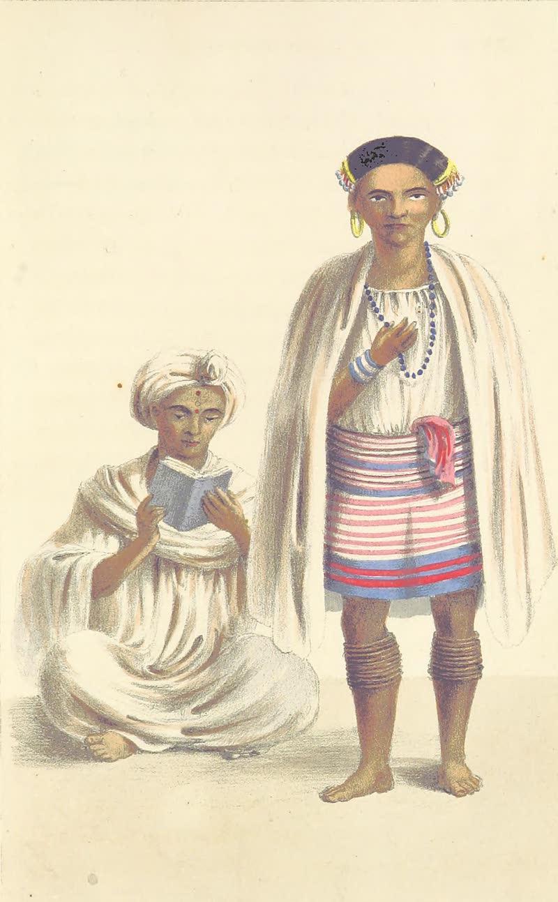 A Sketch of Assam - An Assamese Gentleman and A Meree Woman (1847)