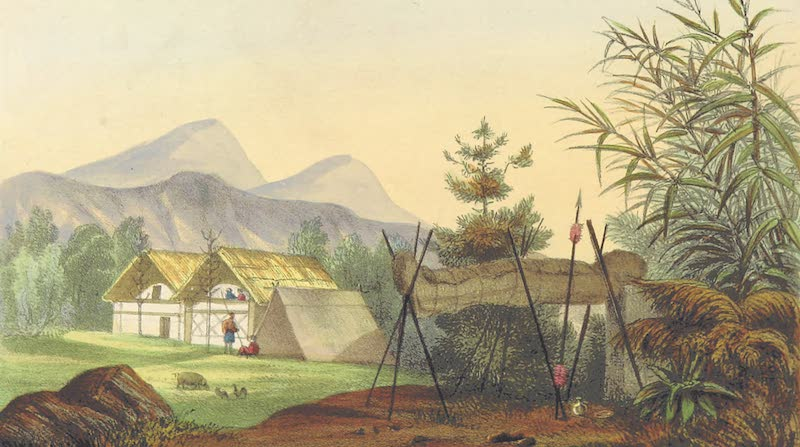 A Sketch of Assam - Naga Mode of Disposing of the Dead on a Bier or Platform (1847)