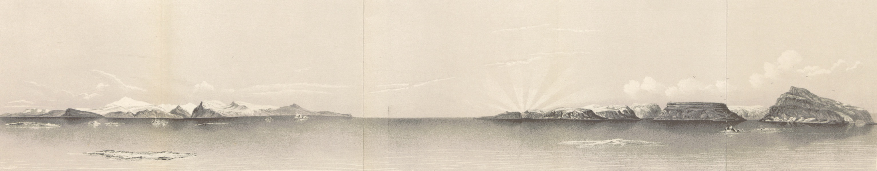 [Panorama of] Prince of Wales Mountains, Cape Albert, Cape Fred. VII, Crystal Palace Cliffs and Cape Alexander