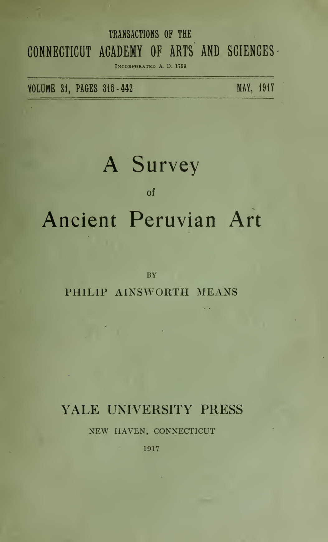English - A Survey of Ancient Peruvian Art
