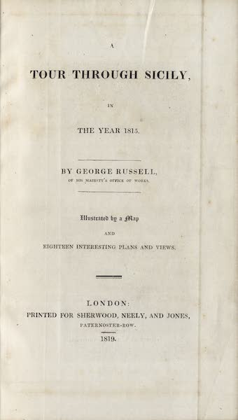 A Tour Through Sicily - Title Page (1819)