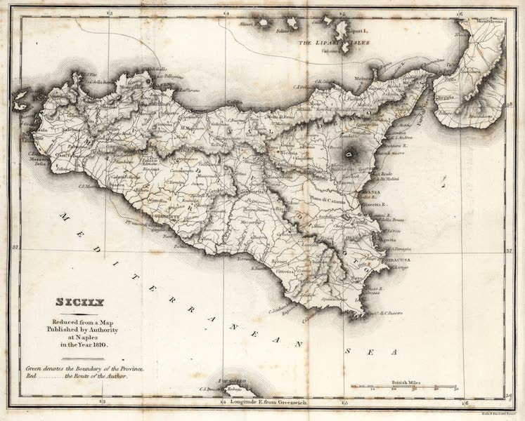 A Tour Through Sicily - Sicily Reduced from a Map Published by Authority at Naples in the Year 1810 (1819)