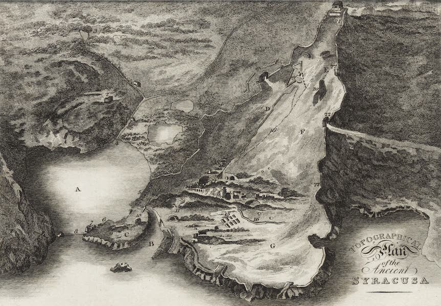 A Tour Through Sicily - Topographical Plan of the Ancient Syracusa (1819)