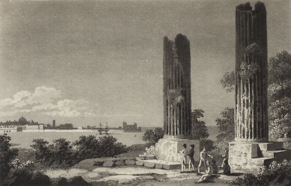 A Tour Through Sicily - Ruins of the Temple of Jupiter Olympus, the City of Syracusa in the distance (1819)