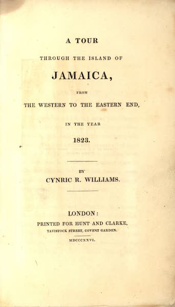 A Tour Through the Island of Jamaica - Title Page (1826)