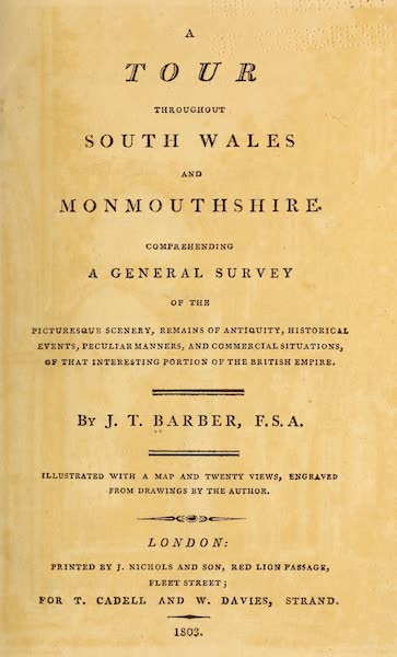 A Tour Throughout South Wales and Monmouthshire - Title Page (1803)