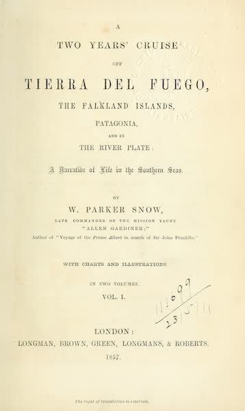 A Two Years Cruise off Tierra del Fuego Vol. 1 - Title Page (1857)