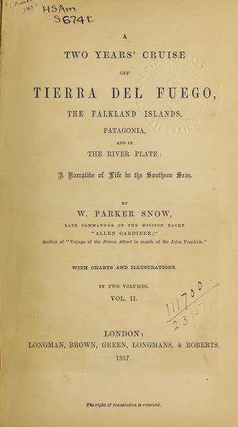A Two Years Cruise off Tierra del Fuego Vol. 2 - Title Page (1857)