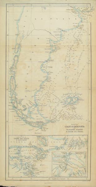 A Two Years Cruise off Tierra del Fuego Vol. 2 - Chart of the Coast of Patagonia, the Falkland Islands and Tierra del Fuego (1857)