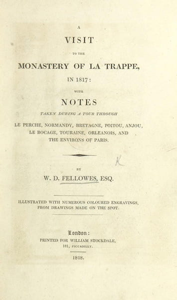 A Visit to the Monastery of La Trappe - Title Page (1818)