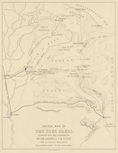 A Visit to the Suez Canal - Sketch Map of the Suez Canal (1866)