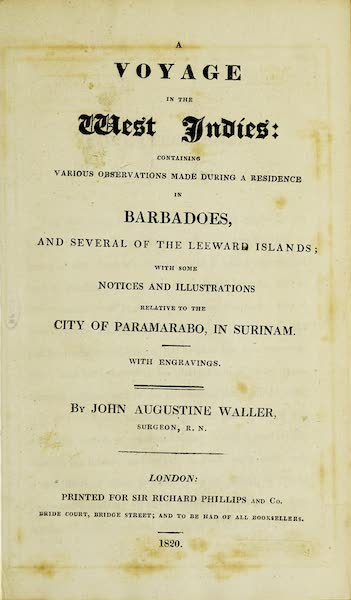 A Voyage in the West Indies - Title Page (1820)