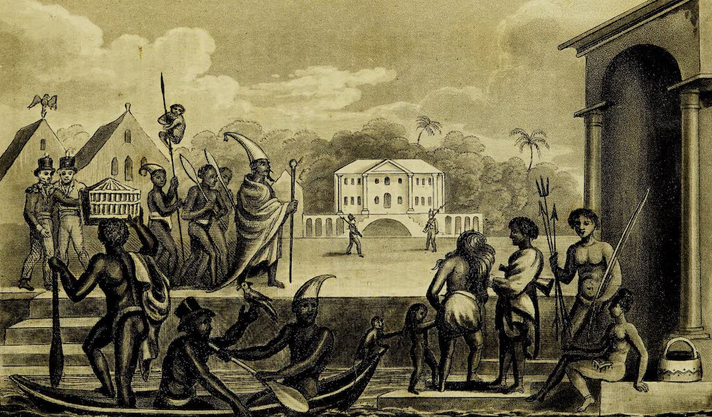 A Voyage in the West Indies - A Chief of the Bosjesmans or Bush Negroes on a Visit to the Governor of Paramaribo Arwawkas, and Charibes or Caribbee Indians at Surinam (1820)