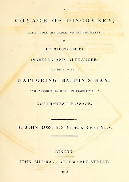 A Voyage of Discovery (1819) - Title Page