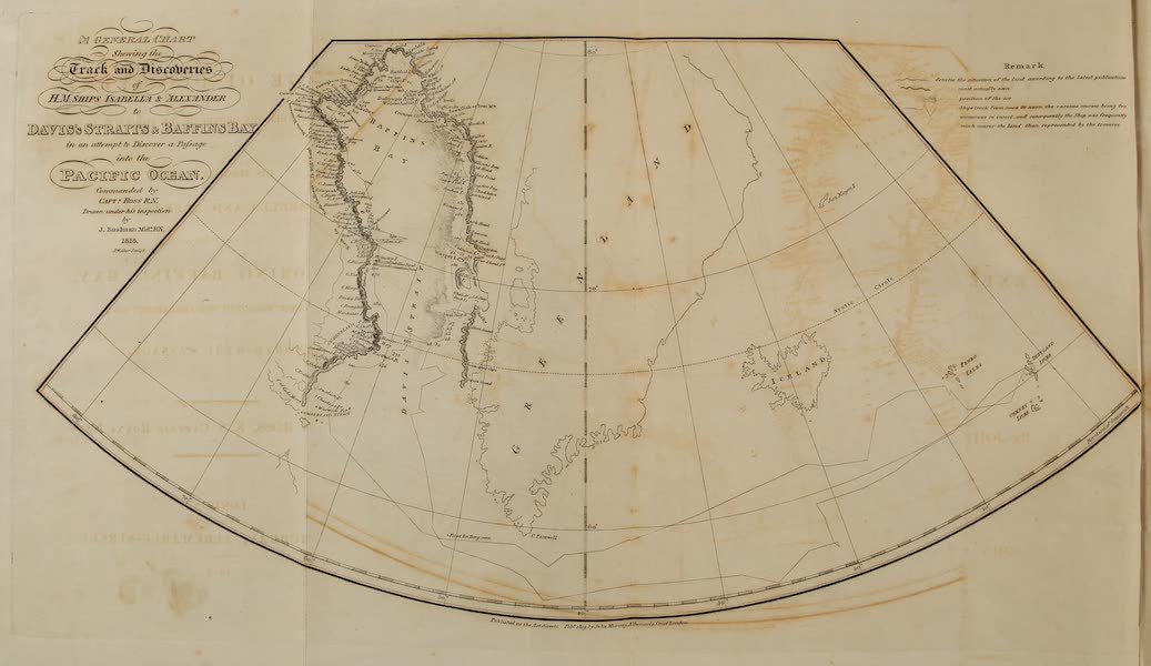 A Voyage of Discovery - A General Chart Shewing the Track and Discoveries of H.M. Ships Isabella & Alexander to Davis's Straits & Baffin's Bay (1819)