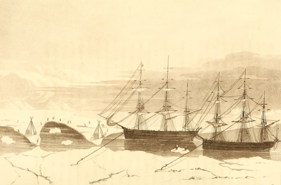 A Voyage of Discovery - Crews of the Isabella and Alexander, Sawing a passage through the Ice. (1819)