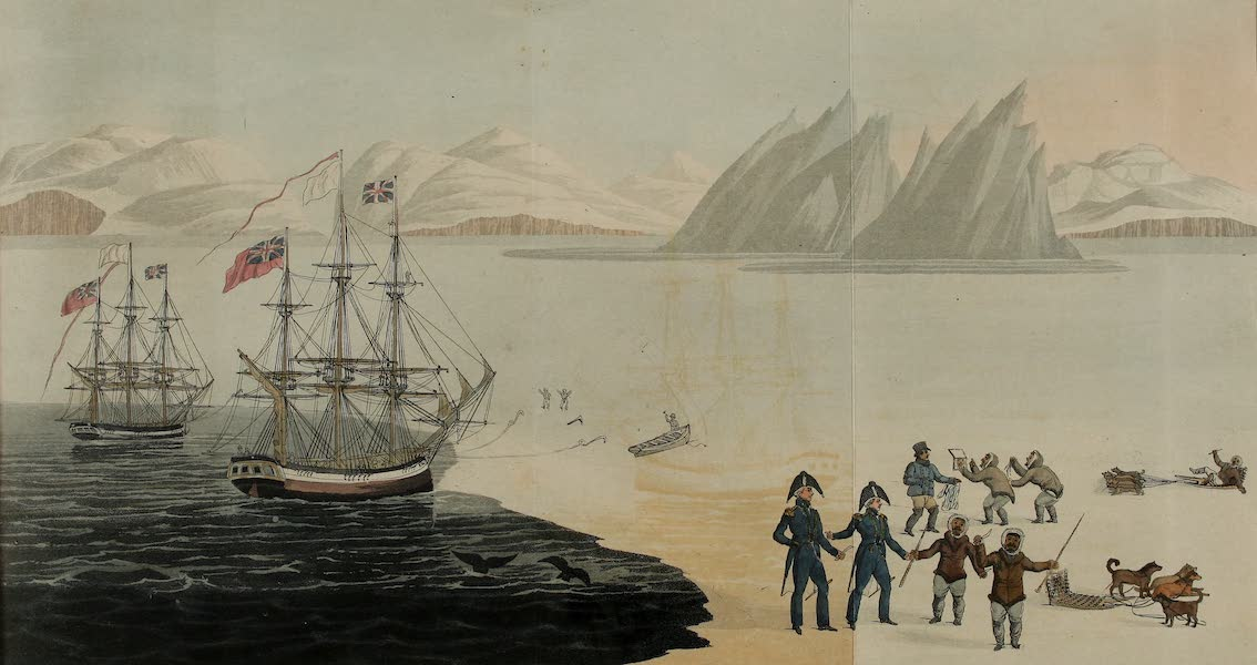 A Voyage of Discovery - First Communications with the Natives of Prince Regents Bay, as Drawn by John Sackheouse, and Presented to Capt. Ross, Augt. 10, 1818. (1819)
