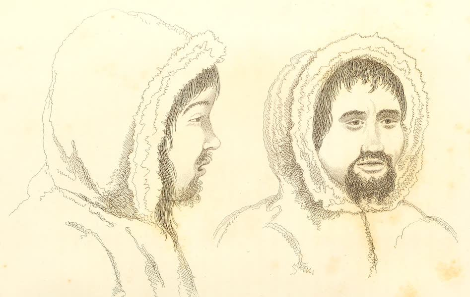 A Voyage of Discovery - [left] Marshuik. [right] Meigack. Arctic Highlanders, Natives of Lat. 77 North Long. 65 West. (1819)