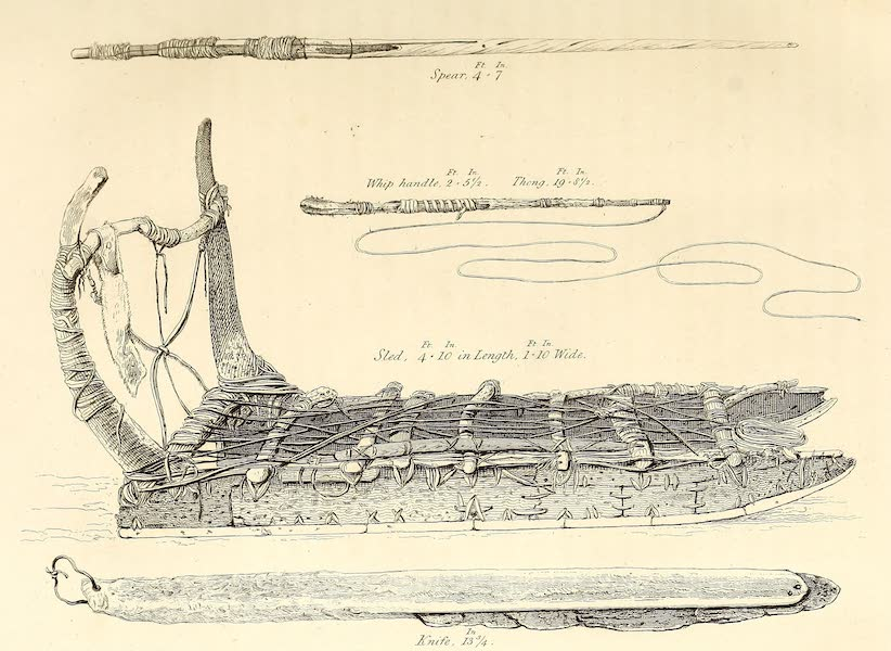 A Bone Sled, Dog Ship, Spear, and Knife of the Arctic Highlanders