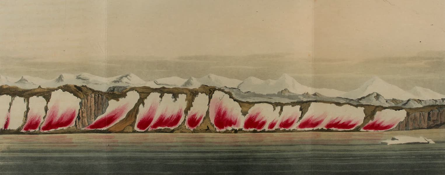 A Voyage of Discovery - Crimson Cliffs. A View of the Coloured Snow in Lat. 76. 25 N. & Long. 68. W. (1819)