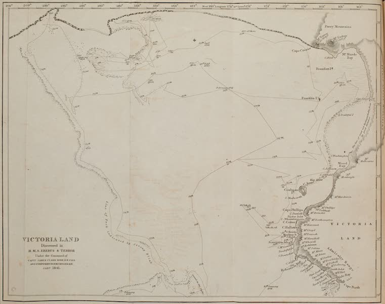 A Voyage of Discovery and Research in the Southern and Antarctic Regions Vol. 1 - Chart of Victoria Land (1847)