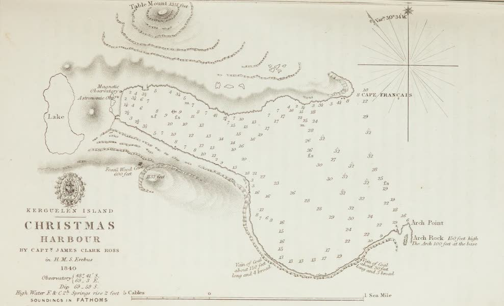 A Voyage of Discovery and Research in the Southern and Antarctic Regions Vol. 1 - Christmas Harbour (Map) (1847)