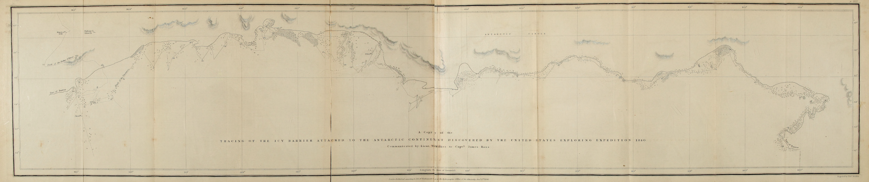 A Voyage of Discovery and Research in the Southern and Antarctic Regions Vol. 1 - Wilkes's Discoveries (Plan) (1847)
