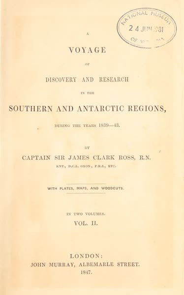 A Voyage of Discovery and Research in the Southern and Antarctic Regions Vol. 2 - Title Page (1847)