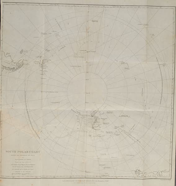 A Voyage of Discovery and Research in the Southern and Antarctic Regions Vol. 2 - South Polar Chart (1847)